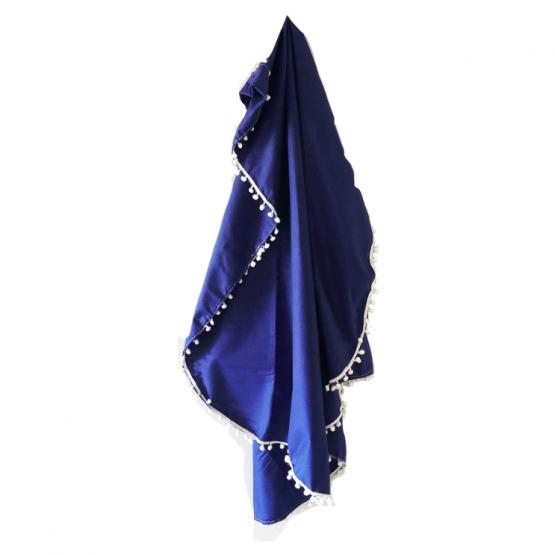 Navy Heirloom blanket with pom poms