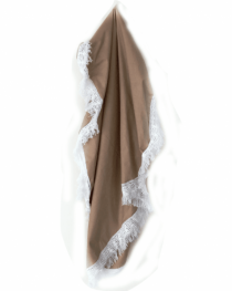 Tan Heirloom blanket with Lace